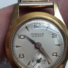 Relojes de pulsera: RELOJ ANTIGUO DE CUERDA PIERCE 15 JEWELS PLAQUE ORO. Lote 116644588