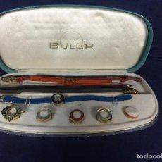 Relojes de pulsera: RELOJ SEÑORA MARCA BULER CON CAJA 5 CUBRE CAJAS 7 CORREAS DIAM 18MM BISEL 25,5X11X3CMS. Lote 117156095