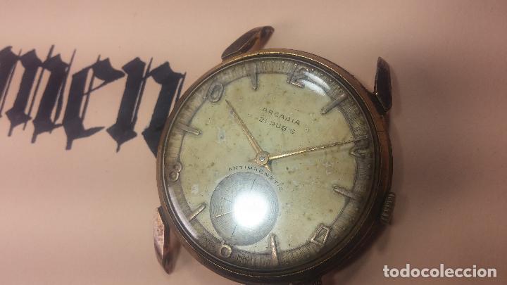 Relojes de pulsera: Muy antiguo reloj de cuerda ARCADIA, grande, para reparar o piezas, muy botito - Foto 6 - 117393943