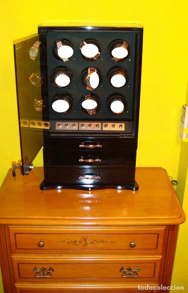Relojes de pulsera: 2 VITRINAS WATCHS-WINDER MADERA RAÍZ, LUJO.....9 RELOJES. CAJONES, CIERRES, LLAVES. - Foto 20 - 50454816