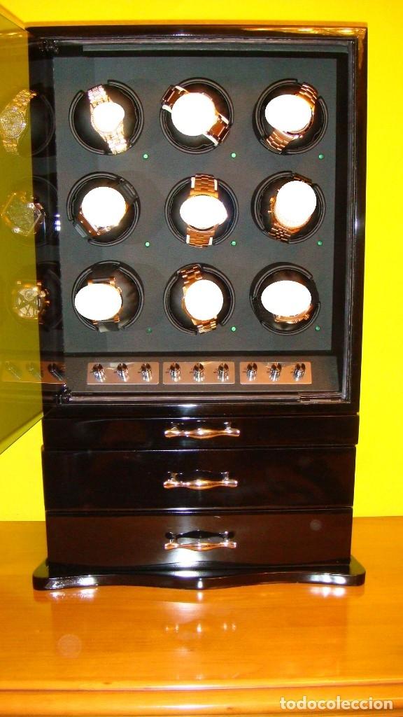 Relojes de pulsera: 2 VITRINAS WATCHS-WINDER MADERA RAÍZ, LUJO.....9 RELOJES. CAJONES, CIERRES, LLAVES. - Foto 21 - 50454816