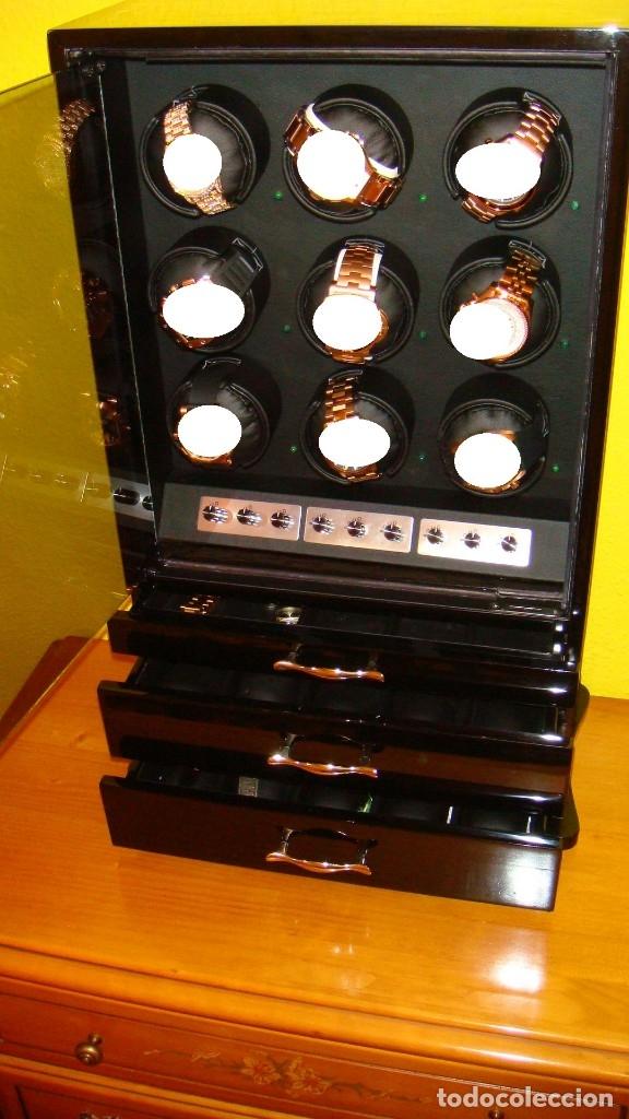 Relojes de pulsera: 2 VITRINAS WATCHS-WINDER MADERA RAÍZ, LUJO.....9 RELOJES. CAJONES, CIERRES, LLAVES. - Foto 22 - 50454816