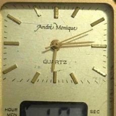 Relojes de pulsera: ANTIGUO Y RARO RELOJ (2 MAQUINARIAS MARCA ANDRE MONIQUE) FUNCIONAN LAS DOS. Lote 120021459