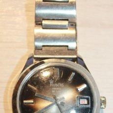 Relojes de pulsera: RUBENS PRIMA DE LUXE. WATERPROOF, ANTIMAGNETIC, CALENDAR. SWISS. AÑOS 60. FUNCIONA. INFO Y 2 FOTOS. Lote 120063383