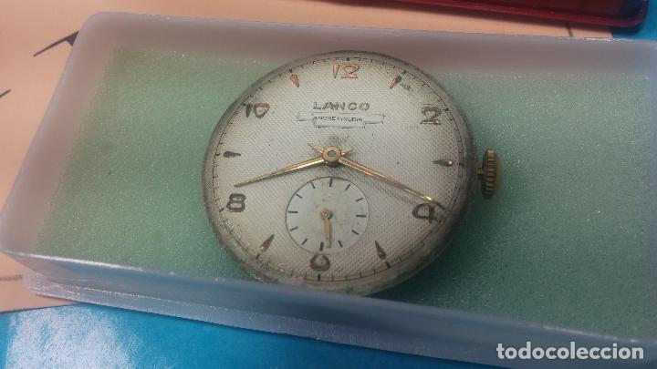 Relojes de pulsera: Botita Maquinaria de reloj de caballero LANCO, funciona muy bien, solo le falta la caja y cristal - Foto 6 - 121520455