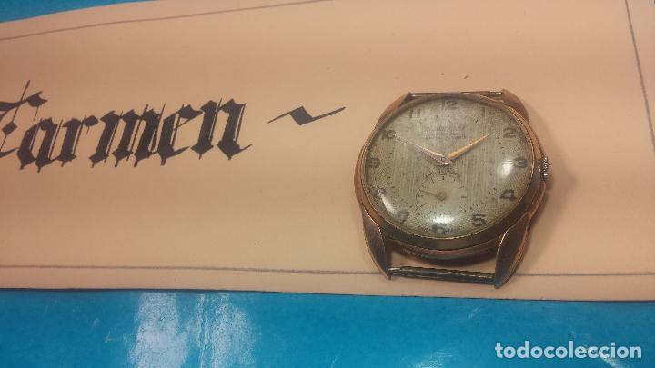 Relojes de pulsera: Botito y muy grande reloj CRISTAL WATCH LE COCLE 15 rubís, para reparar o piezas, linda caja chapada - Foto 3 - 121521087