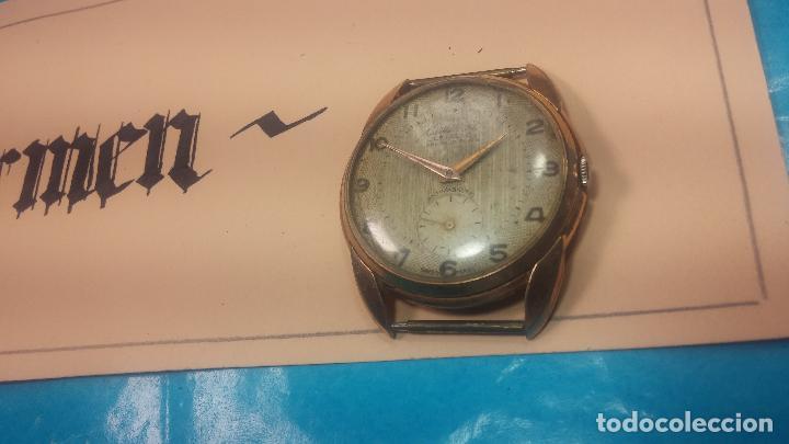 Relojes de pulsera: Botito y muy grande reloj CRISTAL WATCH LE COCLE 15 rubís, para reparar o piezas, linda caja chapada - Foto 4 - 121521087