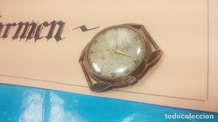 Relojes de pulsera: Botito y muy grande reloj CRISTAL WATCH LE COCLE 15 rubís, para reparar o piezas, linda caja chapada - Foto 6 - 121521087