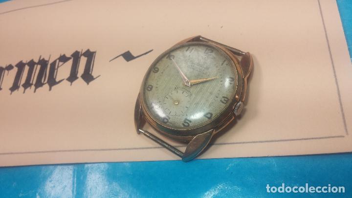 Relojes de pulsera: Botito y muy grande reloj CRISTAL WATCH LE COCLE 15 rubís, para reparar o piezas, linda caja chapada - Foto 7 - 121521087