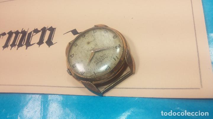 Relojes de pulsera: Botito y muy grande reloj CRISTAL WATCH LE COCLE 15 rubís, para reparar o piezas, linda caja chapada - Foto 9 - 121521087