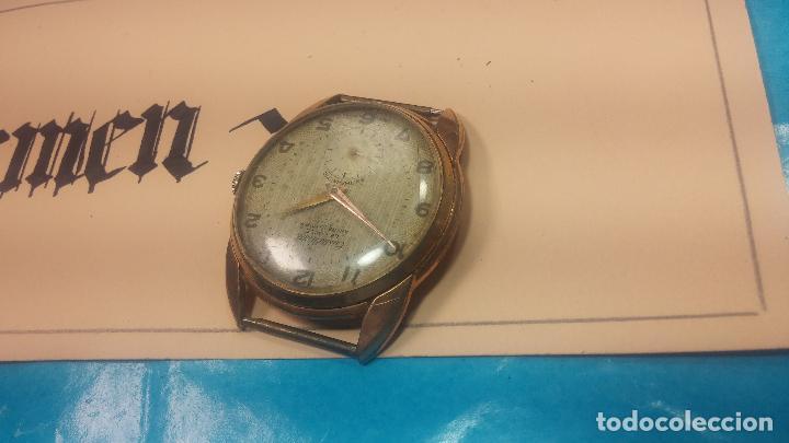 Relojes de pulsera: Botito y muy grande reloj CRISTAL WATCH LE COCLE 15 rubís, para reparar o piezas, linda caja chapada - Foto 10 - 121521087