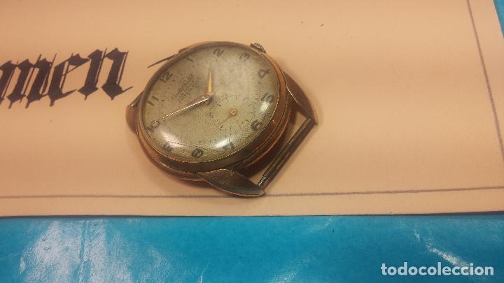 Relojes de pulsera: Botito y muy grande reloj CRISTAL WATCH LE COCLE 15 rubís, para reparar o piezas, linda caja chapada - Foto 12 - 121521087