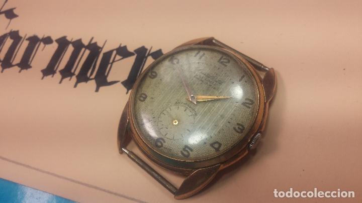 Relojes de pulsera: Botito y muy grande reloj CRISTAL WATCH LE COCLE 15 rubís, para reparar o piezas, linda caja chapada - Foto 14 - 121521087