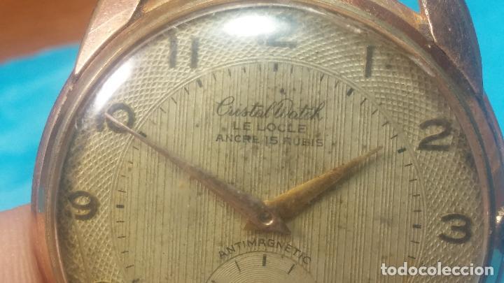 Relojes de pulsera: Botito y muy grande reloj CRISTAL WATCH LE COCLE 15 rubís, para reparar o piezas, linda caja chapada - Foto 15 - 121521087