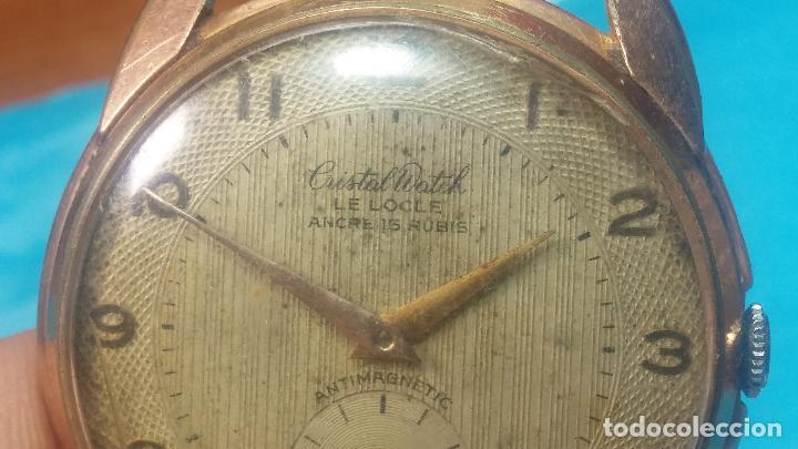 Relojes de pulsera: Botito y muy grande reloj CRISTAL WATCH LE COCLE 15 rubís, para reparar o piezas, linda caja chapada - Foto 16 - 121521087