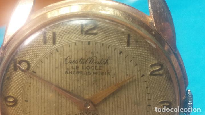 Relojes de pulsera: Botito y muy grande reloj CRISTAL WATCH LE COCLE 15 rubís, para reparar o piezas, linda caja chapada - Foto 19 - 121521087