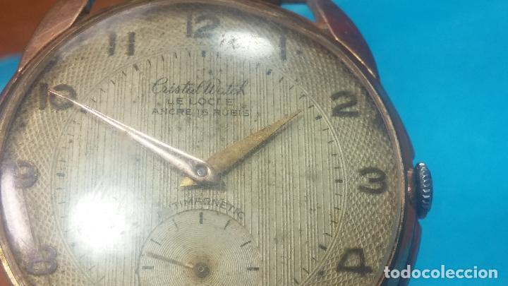 Relojes de pulsera: Botito y muy grande reloj CRISTAL WATCH LE COCLE 15 rubís, para reparar o piezas, linda caja chapada - Foto 21 - 121521087