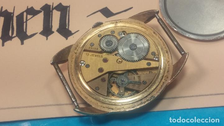 Relojes de pulsera: Botito y muy grande reloj CRISTAL WATCH LE COCLE 15 rubís, para reparar o piezas, linda caja chapada - Foto 28 - 121521087