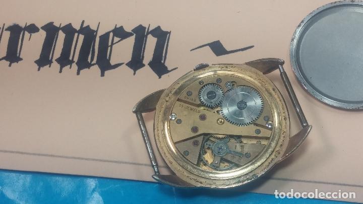 Relojes de pulsera: Botito y muy grande reloj CRISTAL WATCH LE COCLE 15 rubís, para reparar o piezas, linda caja chapada - Foto 29 - 121521087