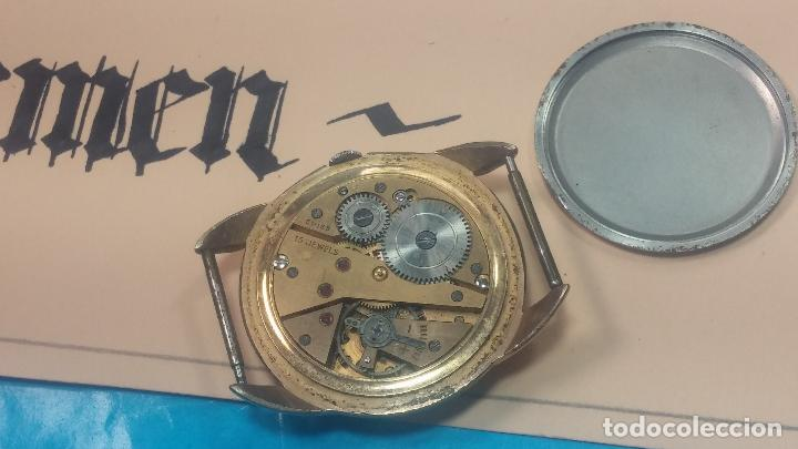 Relojes de pulsera: Botito y muy grande reloj CRISTAL WATCH LE COCLE 15 rubís, para reparar o piezas, linda caja chapada - Foto 30 - 121521087
