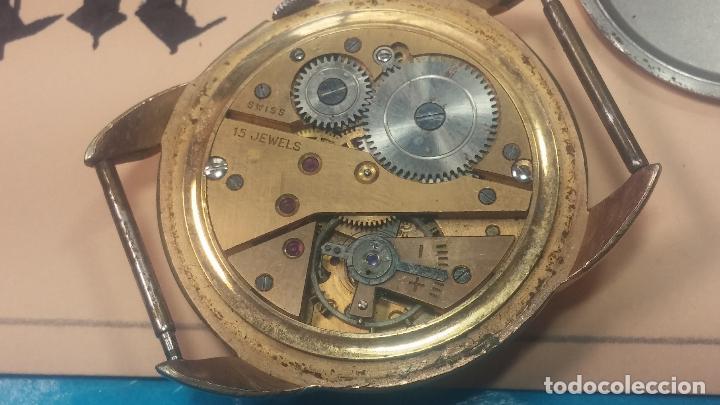Relojes de pulsera: Botito y muy grande reloj CRISTAL WATCH LE COCLE 15 rubís, para reparar o piezas, linda caja chapada - Foto 31 - 121521087