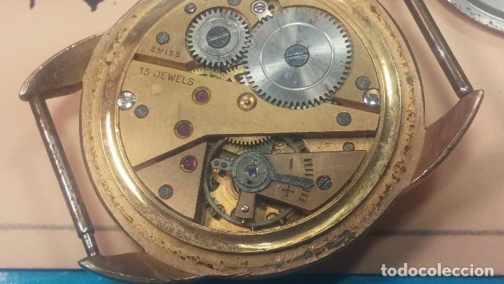 Relojes de pulsera: Botito y muy grande reloj CRISTAL WATCH LE COCLE 15 rubís, para reparar o piezas, linda caja chapada - Foto 32 - 121521087