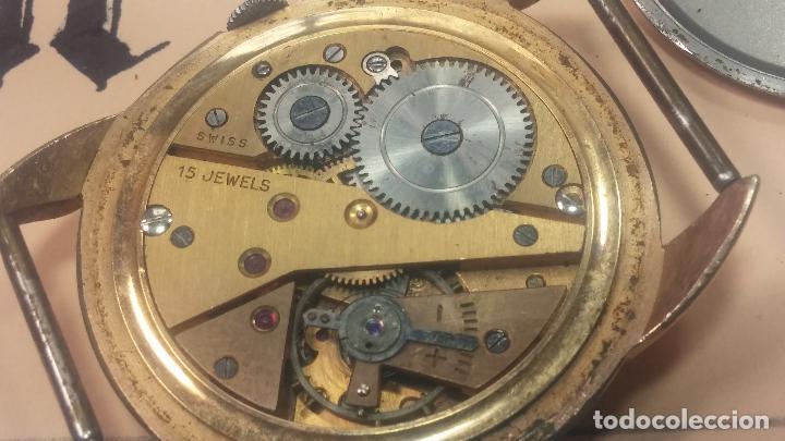 Relojes de pulsera: Botito y muy grande reloj CRISTAL WATCH LE COCLE 15 rubís, para reparar o piezas, linda caja chapada - Foto 33 - 121521087