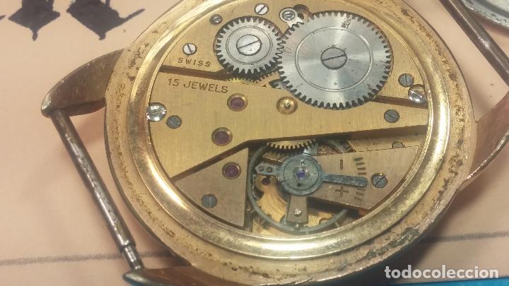 Relojes de pulsera: Botito y muy grande reloj CRISTAL WATCH LE COCLE 15 rubís, para reparar o piezas, linda caja chapada - Foto 34 - 121521087