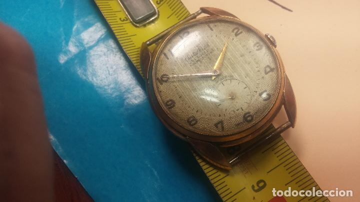 Relojes de pulsera: Botito y muy grande reloj CRISTAL WATCH LE COCLE 15 rubís, para reparar o piezas, linda caja chapada - Foto 36 - 121521087