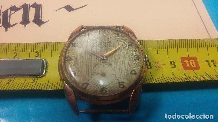 Relojes de pulsera: Botito y muy grande reloj CRISTAL WATCH LE COCLE 15 rubís, para reparar o piezas, linda caja chapada - Foto 37 - 121521087