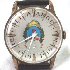 Relojes de pulsera: HERMOSO RELOJ ESFERA ESCUDO CONMEMORATIVO DEL CENTENARIO DE LA REPUBLICA ARGENTINA DIAMETRO 37MM. Lote 122996115