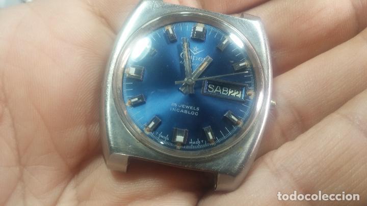 Relojes de pulsera: Botito y grande reloj CLIPER con botita esfera azul marine, para reparar o para piezas. - Foto 5 - 124239335