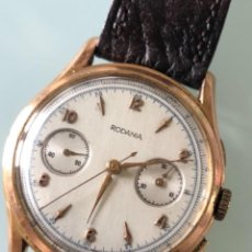 Relojes de pulsera: RELOJ RODANIA SWISS MADE CHRONOGRAPH AÑOS 60, ORO DE 18 KILATES. Lote 166081850