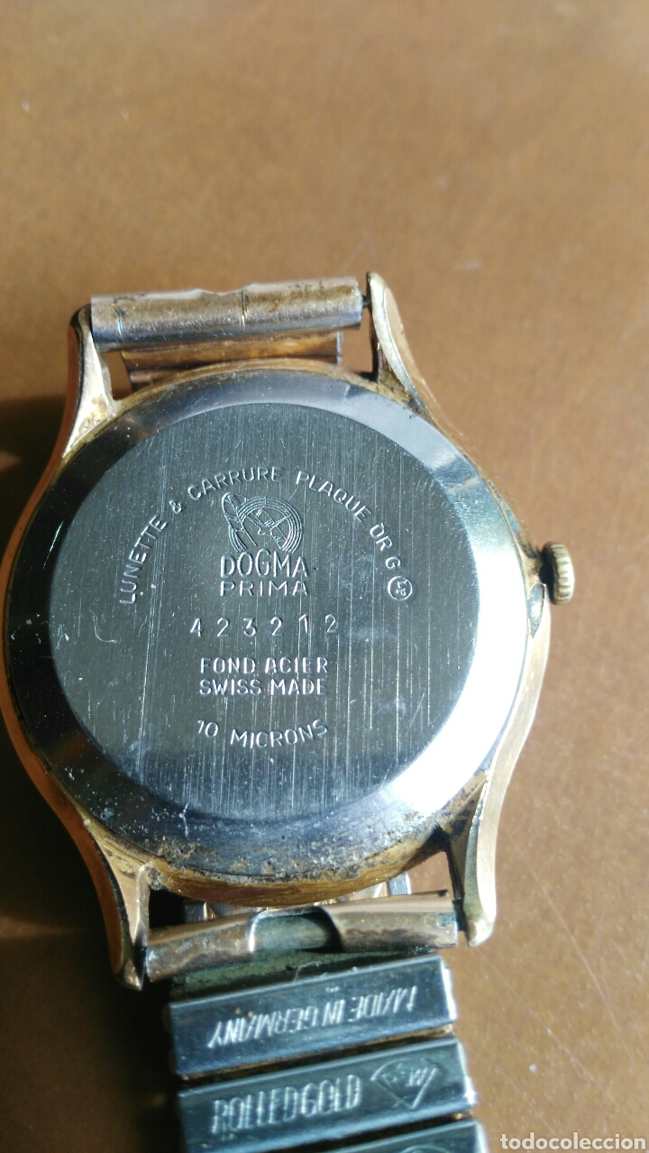 RELOJ CABALLERO ANTIGUO MARCA DOGMA CHAPADO ORO (Relojes - Pulsera Carga Manual)