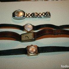 Relojes de pulsera: CUATRO RELOJES DE SEÑORA MARCAS MASSY DE LUXE,DURSAN,TIMEX Y CAUNY. NO PROBADOS BIL. Lote 126994727