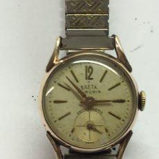 Relojes de pulsera: RELOJ SAETA CARGA MANUAL Y CAJA CHAPADA CON CORREA FLEXIBLE VINTAGE EN FUNCIONARIOS. Lote 188533071