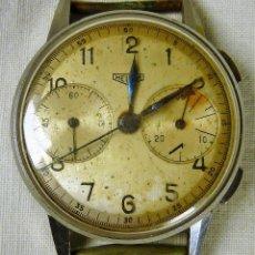 Relojes de pulsera: RELOJ PULSERA HEUER CHRONOGRAPH CON CRONOGRAFO EN ACERO INOXIDABLE NUMERARO, AÑOS 40 PARA RESTAURAR . Lote 128378015