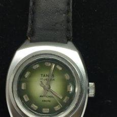 Relojes de pulsera: RELOJ TANUS 17 JEWELS EN ACERO MAQUINARIA SUIZA PARA COLECCIONISTAS EN FUNCIONAMIENTO. Lote 134792289
