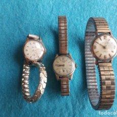 Relojes de pulsera: LOTE DE 3 RELOJES ANTIGUOS MECÁNICOS PARA DAMA. DUWARD. RÉCORD. ROVER.. Lote 129990431