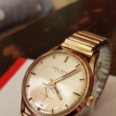 Relojes de pulsera: BONITO RELOJ SWSS SÚPER WATCH 17RUVIS CHAPADO 10MICRAS ORO DE CUERDA DIAMETRO 35MILIMTROS FUNCIONA. Lote 130784155