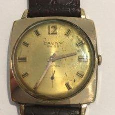 Relojes de pulsera: RELOJ CAUNY PRIMA CARGA MANUAL Y CAJA CHAPADA ORO EN FUNCIONAMIENTO. Lote 133231102