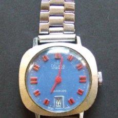 Relojes de pulsera: RELOJ SUIZO SEÑORA DELKAR CARGA MANUAL INCABLOC 4767 ESFERA AZUL FUNCIONA. Lote 134265778