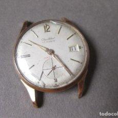 Relojes de pulsera: RELOJ SUIZO CHANDELEUR DE CABALLERO CON SEGUNDERO Y CALENDARIO - CHAPADO EN ORO - 17 RUBIS ANTICHOC. Lote 141619485