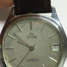 Relojes de pulsera: RELOJ SUIZO MANUAL LUYPE RULETA DE GENMA NEGRA 17 RUBIS. Lote 136372254