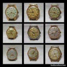 Relojes de pulsera: LOTE 9 RELOJES-CAUNY PRIMA-LADY-DUWARD-RELOJ SUIZO-CHAPADO ORO-15-17 RUBÍS. Lote 136861178