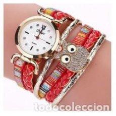 Relojes de pulsera: RELOJ MUJER BUHO CON CRISTALES. Lote 137184174