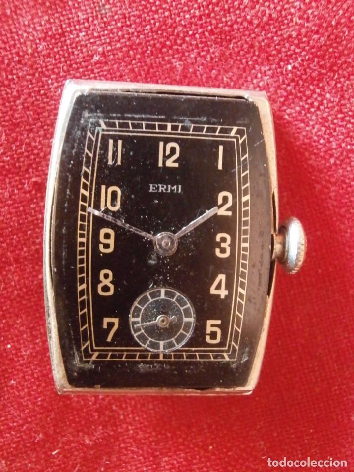 Relojes de pulsera: antiguo reloj alemán de pulsera a cuerda manual mecánica de la marca ERMI años 1940 1950 y funciona - Foto 5 - 137186170