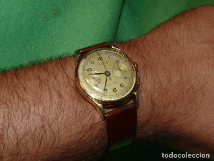 ELEGANTE RELOJ CRONOMETRO MINIMAX CALIBRE LANDERON 48 SWISS MADE 17 RUBIS AÑOS 50 (Relojes - Pulsera Carga Manual)
