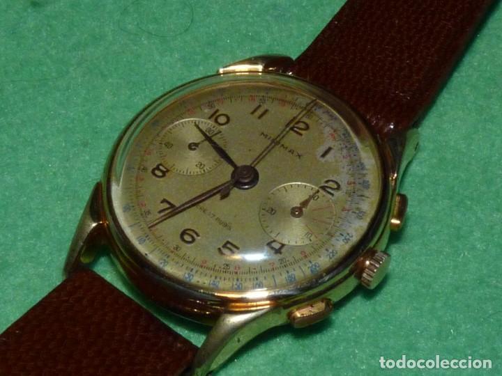Relojes de pulsera: ELEGANTE RELOJ CRONOMETRO MINIMAX CALIBRE LANDERON 48 SWISS MADE 17 RUBIS AÑOS 50 - Foto 2 - 137462154