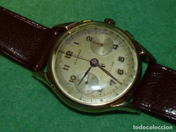 Relojes de pulsera: ELEGANTE RELOJ CRONOMETRO MINIMAX CALIBRE LANDERON 48 SWISS MADE 17 RUBIS AÑOS 50 - Foto 3 - 137462154